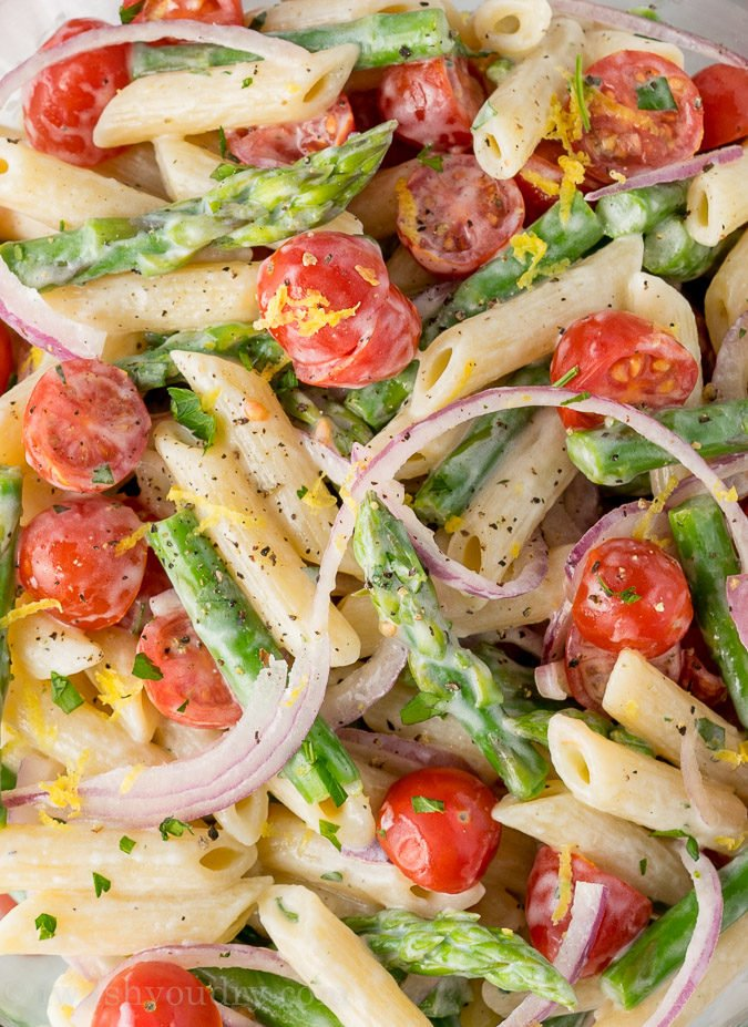 This salad is full of deliciousness. It's a cold pasta salad, which ...