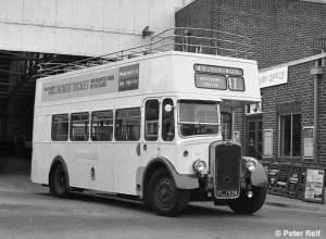 No 908 (FLJ538) at Shanklin Bus Station on 30 July 1973 © Peter Relf