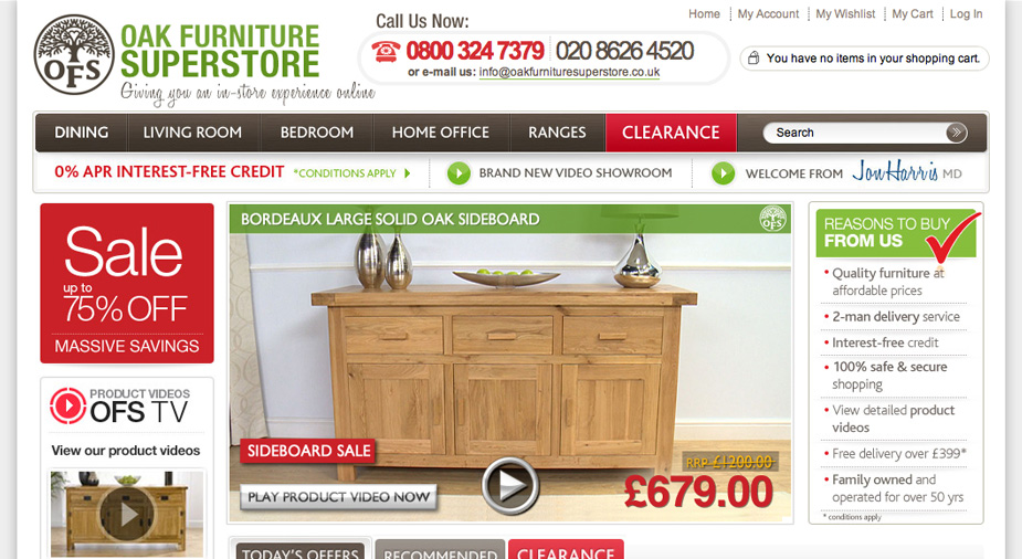 Oak Furniture Superstore Magento eCommerce Goes Live