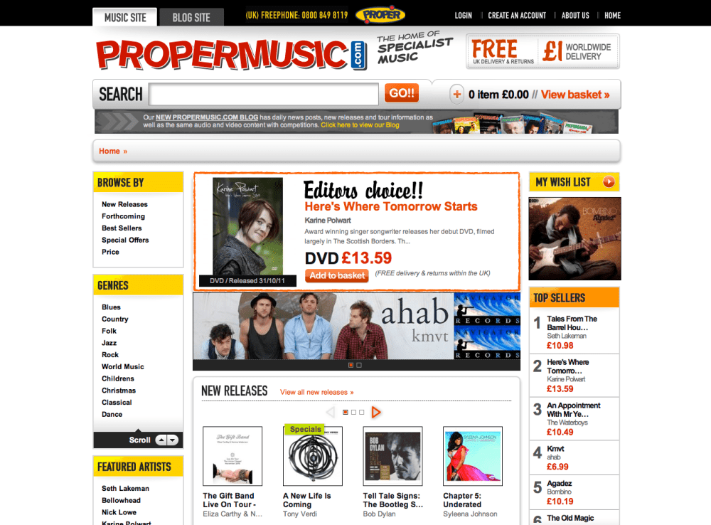 Propermusic.com – iWeb launches new online store for specialist music lovers
