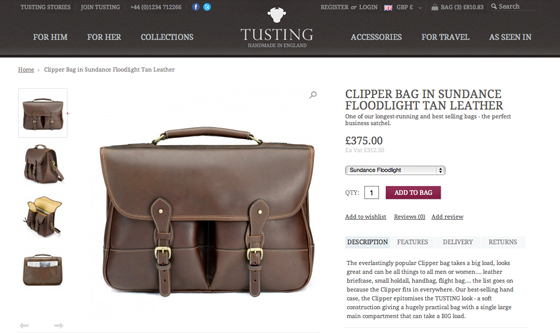 Tusting bags the complete eCommerce web site from iWeb