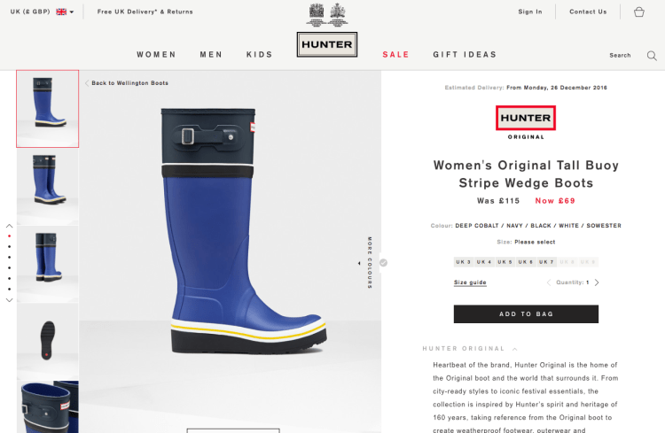 Product Pages that Sell | Hunters Wellies