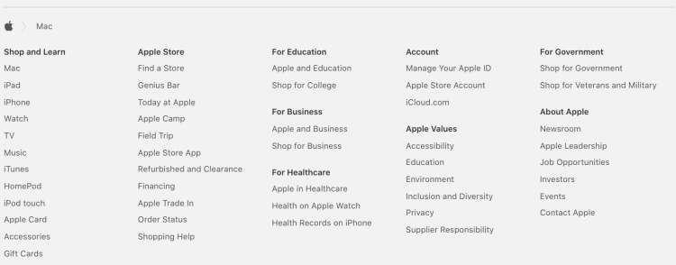 Apple Footer Links | iWeb