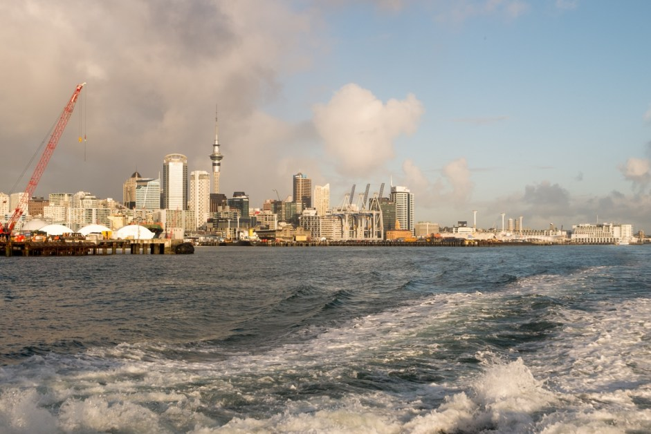 View on Central Business District and the Sky Tower from the ferry.