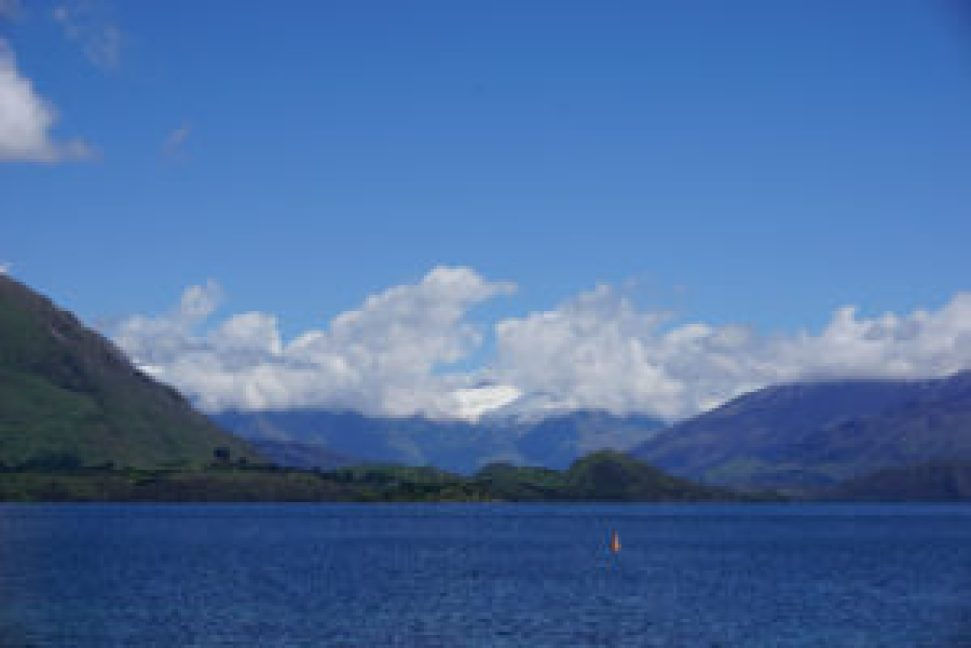 View on the lake and the Mount Aspiring National Park from Wanaka.
