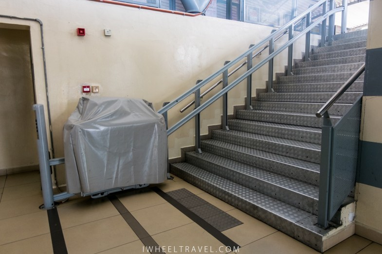 The out of order wheelchair lift.