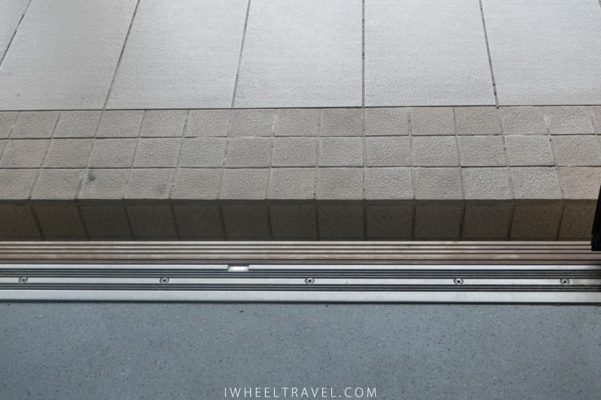 The gap between the platform and the train.