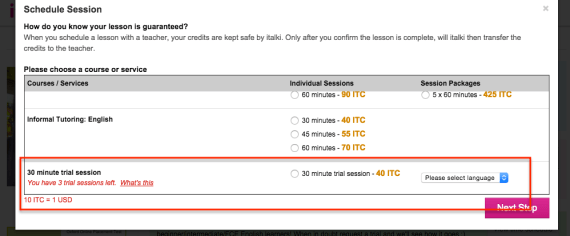 schedule trial session