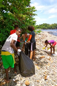 Members of the National Rugby Team clean up Great Head Bay.
