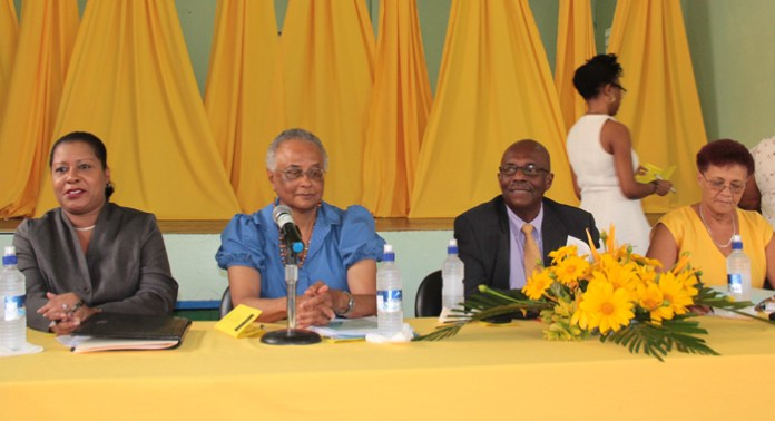 """Opposition Leader Arnhim Eustace and other member of the panel at his party's """"Conversation with Women"""" on Monday. (IWN photo)"""