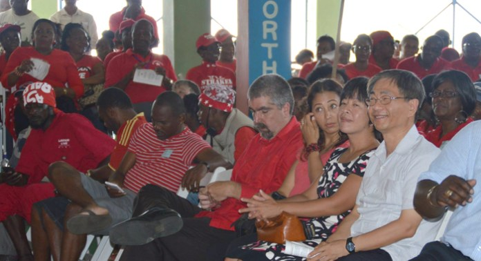 "Venezuela Ambassador to Kingstown Yuri Pimentel, Taiwan Ambassador Baushuan Ger, and other diplomats among persons at Sunday's convention. (Photo: Duggie ""Nose"" Joseph)"