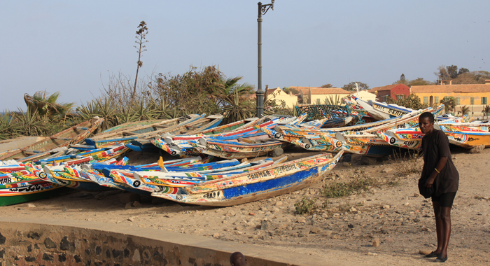 Colourful canoes line the shore on Gorée Island. (IWN photo)