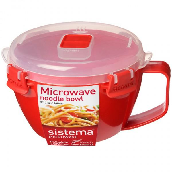 sistema microwave noodle bowl lunch bpa free dishwasher safe 940ml red clear