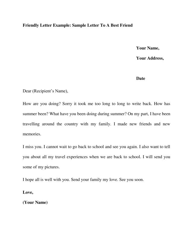 Friendly Letter Example: Sample Letter To A Best Friend - iWriteEssays