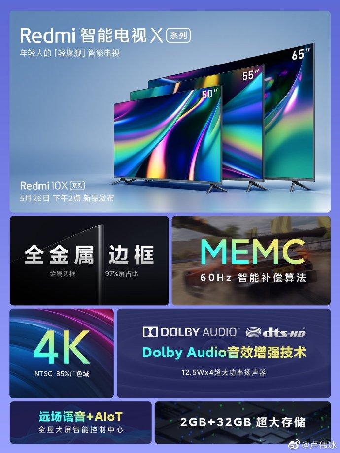 Xiaomi раскрыла все характеристики телевизоров Redmi X перед сегодняшним анонсом