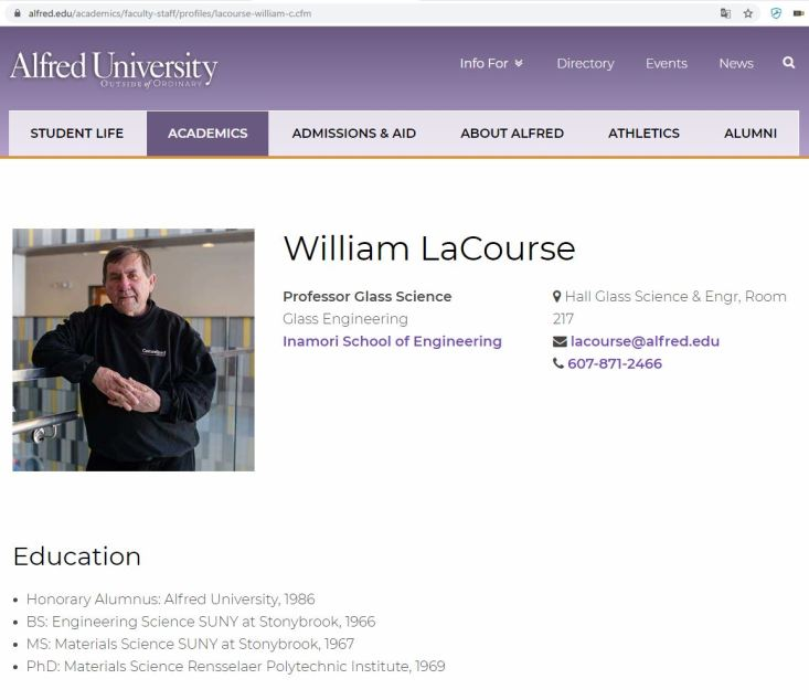 William LaCourse forscht am Institut für Glas-Wissenschaften an der Alfred University New York