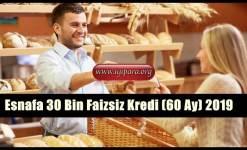 Esnafa 30 Bin Faizsiz Kredi (60 Ay) 2019