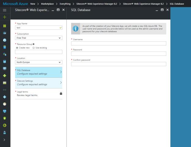 Sitecore Azure Marketplace SQL Tab
