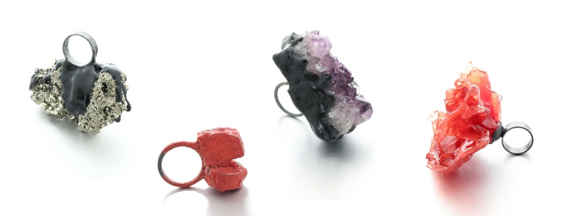 Izabella Petrut one of a kind chunky rings with minerals and resin