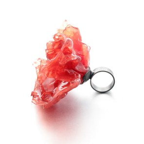 big red statement paper ring. ring size chart. handmade by jewelry designer Izabella Petrut