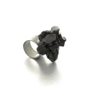 One of a kind ring, oxidised silver , epoxy resin, black. Izabella Petrut
