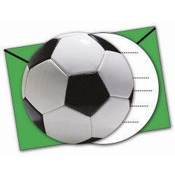 cartes invitation anniversaire football party x 6