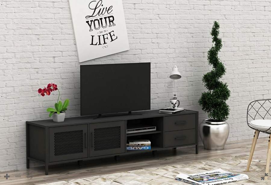 meuble tv zeus 2 portes 2 tiroirs noir