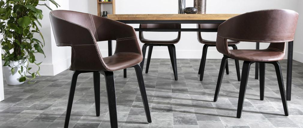 chaises design lot de 2 slam marron
