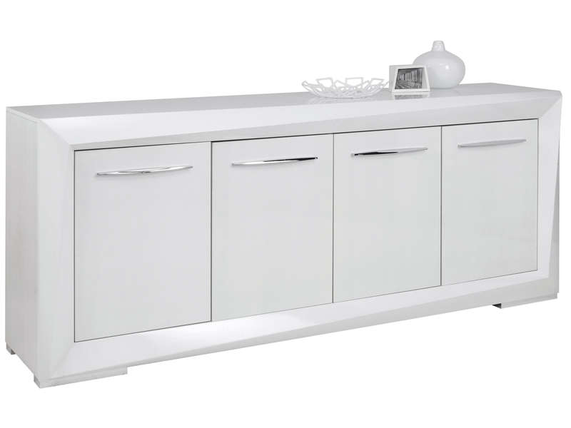 buffet 4 portes brook coloris blanc