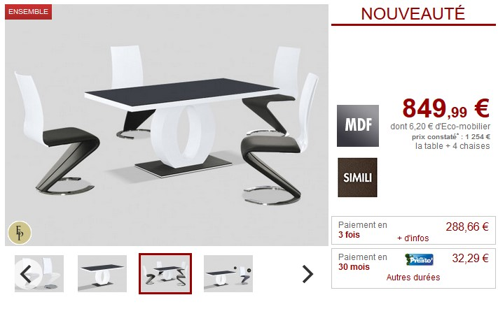 ensemble table 4 chaises twist design