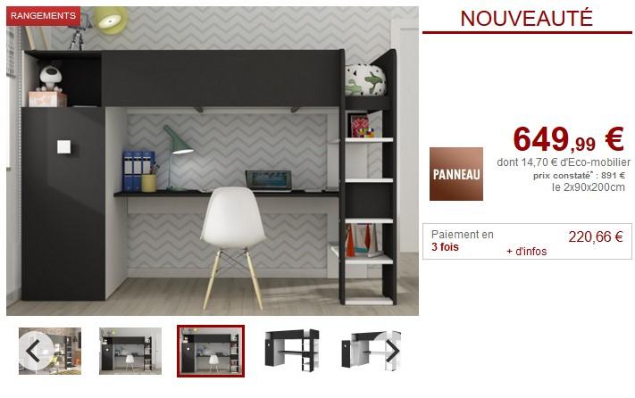 lit mezzanine avec armoire bureau tobie