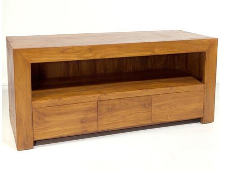 meuble tv la maison de valerie meuble tv 3 tiroirs pasha teck massif