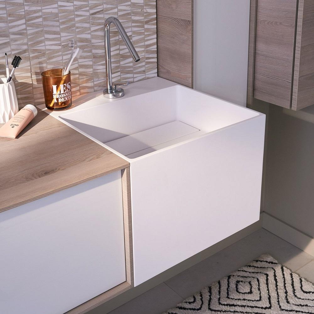 Plan Vasque Simple Cube Resine De Synthese Plan Vasque Pour Salle De Bains Leroy Merlin Iziva Com