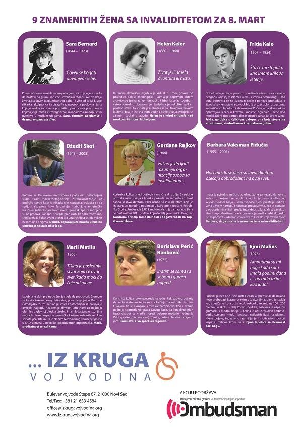 Plakat 9 ZNAMENITIH ŽENA SA INVALIDITETOM ZA 8. MART