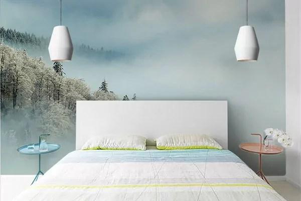 papier peint chambre adulte foret enneigee