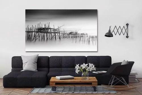tableau noir et blanc village de