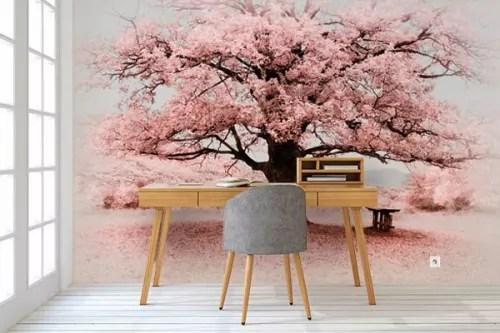 papier peint deco arbre fleuri