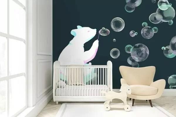 papier peint chambre enfant ours a bulles