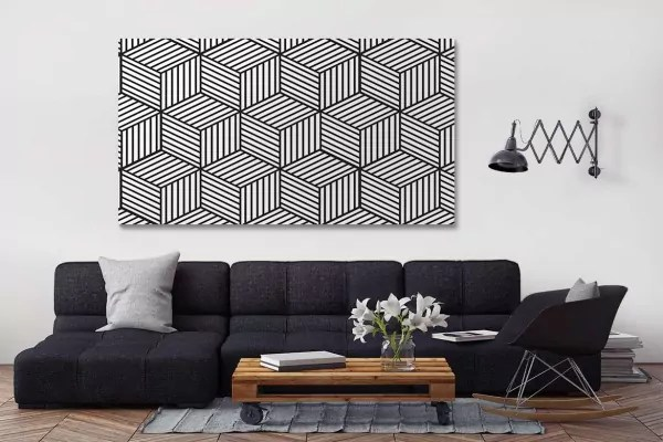 tableau geometrique cubes noir et blanc