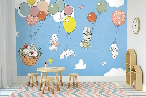 papier peint pour chambre enfant famille de lapins