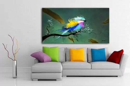 Tableau Design Xxl Oiseau Grande Toile Tendance Deco Tropicale