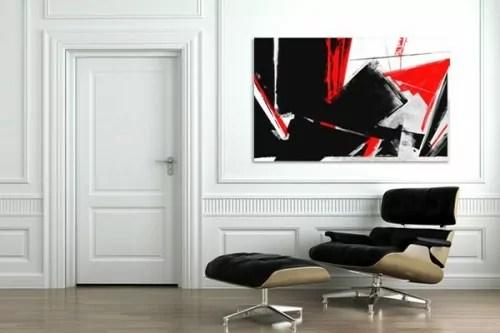 Tableau Abstrait Rouge Et Noir Tableau Sur Toile Moderne