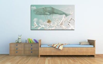 Tableau pour enfant baleine montgolfière