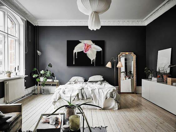 Deco chambre grise avec tableau moderne izoa