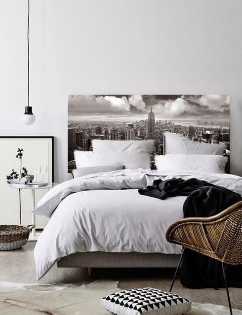 un papier peint en guise de t te de lit blog toile. Black Bedroom Furniture Sets. Home Design Ideas
