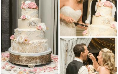 Madeline & Ben's Elegant Lace Wedding Cake