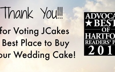 "JCakes voted ""Best Place to Buy Your Wedding Cake"" by the New Haven Advocate Poll"