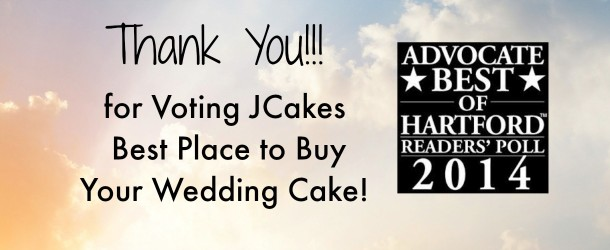 """JCakes voted """"Best Place to Buy Your Wedding Cake"""" by the New Haven Advocate Poll"""