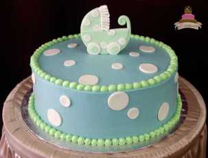 (223) Carriage Baby Shower Cake
