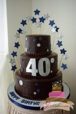 (113) Dots & Stars 40th Birthday Cake